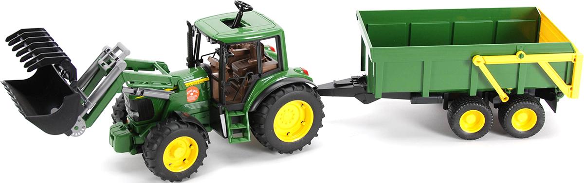 Bruder Трактор John Deere 6920 с погрузчиком и прицепом машинки tomy трактор john deere 6830 с двойными колесами и фронтальным погрузчиком