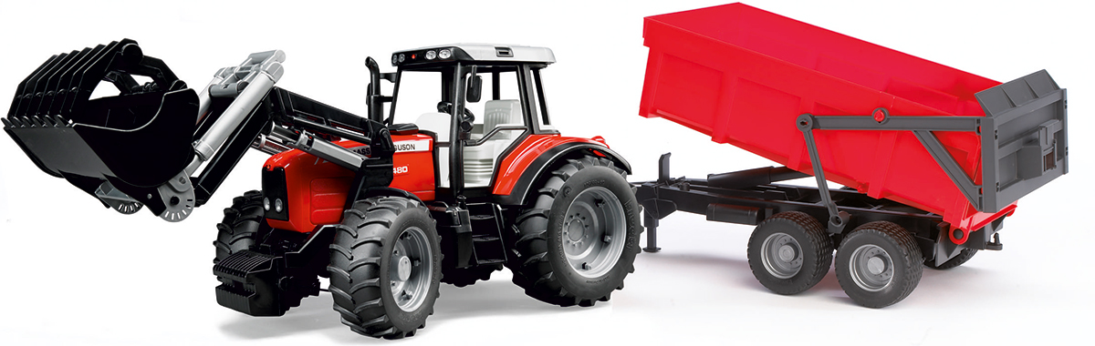 Bruder Трактор Massey Ferguson 7480 с погрузчиком и прицепом tomy трактор massey ferguson 6613
