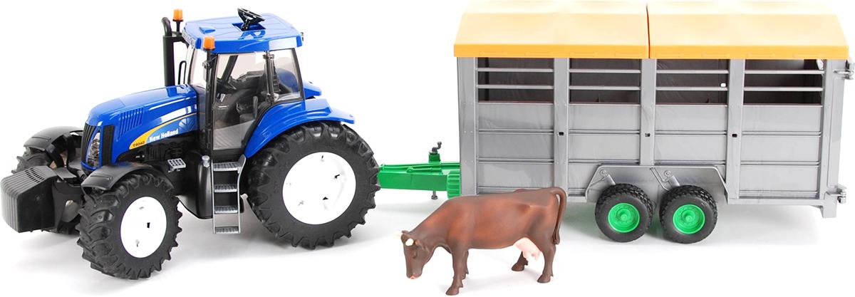 Bruder Трактор New Holland T8040 с прицепом и коровой