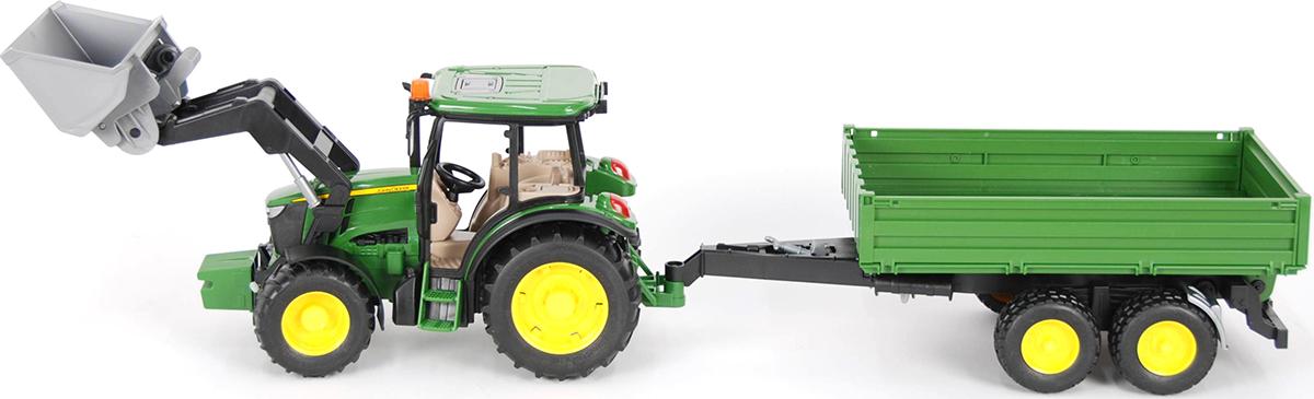 Bruder Трактор John Deere M5115 с погрузчиком и прицепом машинки tomy трактор john deere 6830 с двойными колесами и фронтальным погрузчиком