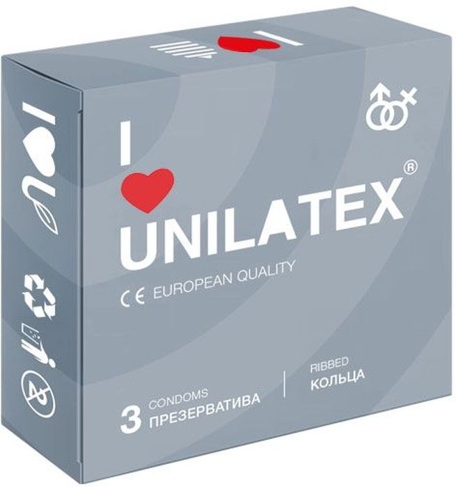 Презервативы Unilatex Ribbed, 3 шт. стринги мужские красные s l