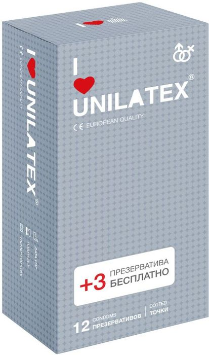 Презервативы Unilatex Dotted, 12 шт. + 3 шт. в подарок baile finish girl брюнетка секс кукла