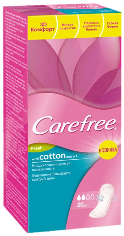 Carefree Ежедневные прокладки Cotton Fresh, ароматизированные, 20 шт38346/80681Сохраняйте ощущение чистоты и свежести каждый день с ежедневными ароматизированными прокладками Carefree Cotton Fresh с экстрактом хлопка. Эти воздухопроницаемые прокладки мягкие, как хлопок. Вы просто забудете об их существовании, останется только ощущение чистоты и свежести. Протестированы дерматологами. Воздухопроницаемая поверхность позволяет вашей коже дышать для свежести De Luxe;Мягкие как хлопок, поэтому вы их практически не чувствуете и наслаждаетесь комфортом De Luxe;Быстро впитывают влагу, помогая предотвратить появление запаха и сохранить ощущение свежести De Luxe.Товар сертифицирован.