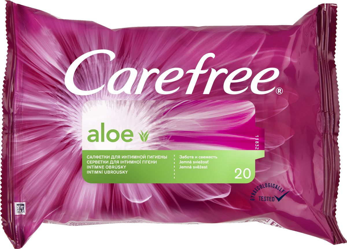 Carefree Салфетки влажные Алоэ, для интимной гигиены, 20 шт44585/80042Откройте секреты ежедневной свежести с влажными салфетками для интимной гигиены CAREFREE®. Они мягко очищают кожу и позволяют чувствовать свежесть в любое время.Содержат экстракт Алоэ.Они поддерживают естественный уровень pH и подходят для ежедневного применения всегда и везде.Товар сертифицирован.