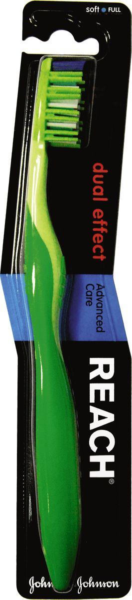 Reach Зубная щетка Dual effect, мягкая, цвет: зеленый3058815Уникальные мягкие и тонкие щетинки зубной щетки Reach Dual effect глубоко проникают в самые узкие межзубные промежутки и превосходно очищают все поверхности зуба.Резиновые пальчики по бокам щетины мягко массируют десны, предотвращая возникновение пародонтоза.Удаляет до 96% зубного налета даже в самых труднодоступных местах. Эффект как после использования зубной щетки и нити. Эргономичный дизайн ручки. Товар сертифицирован.