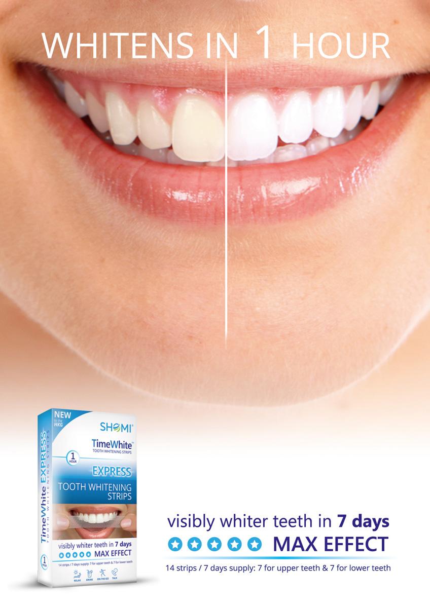 Shomi Time White Exspress 7 DayОтбеливающие полоски для зубов с новой формулой без переоксида водорода 14 полосок -7 пар Shomi