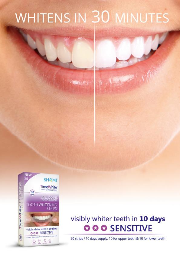 Shomi Time White Classic 10 DayОтбеливающие полоски для зубов с новой формулой без переоксида водорода 20 полосок - 10пар Shomi
