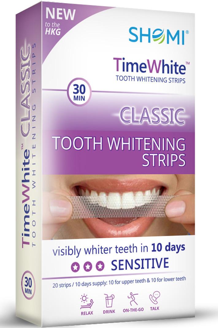 купить Shomi Time White Classic 10 Day Отбеливающие полоски для зубов с новой формулой без переоксида водорода 20 полосок - 10 пар по цене 939 рублей