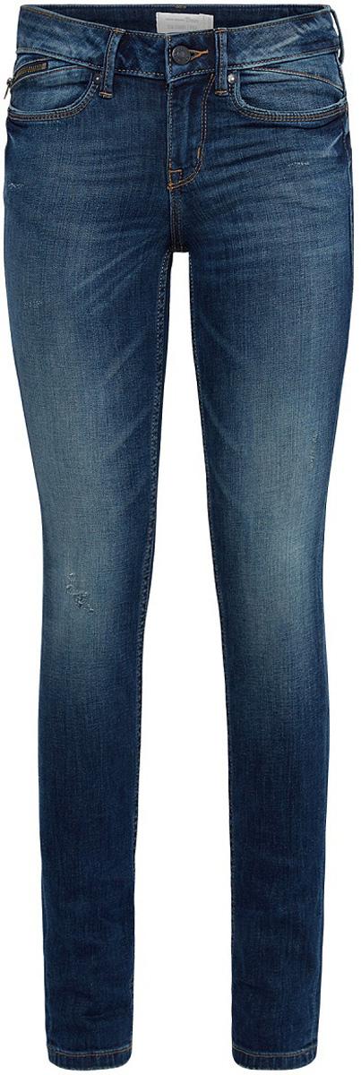 Джинсы женские Tom Tailor Stella, цвет: синий. 6205824.09.71_1052. Размер 27-34 (42/44-34)6205824.09.71_1052Женские джинсы Tom Tailor с небольшим эффектом потертости ткани и перманентными складками. Модель зауженного кроя и низкой посадки в поясе застегивается на пуговицу, имеются ширинка на молнии и шлевки для ремня. Джинсы имеют пятикарманный крой: спереди - два втачных кармана и один маленький кармашек на молнии, сзади - два накладных кармана.