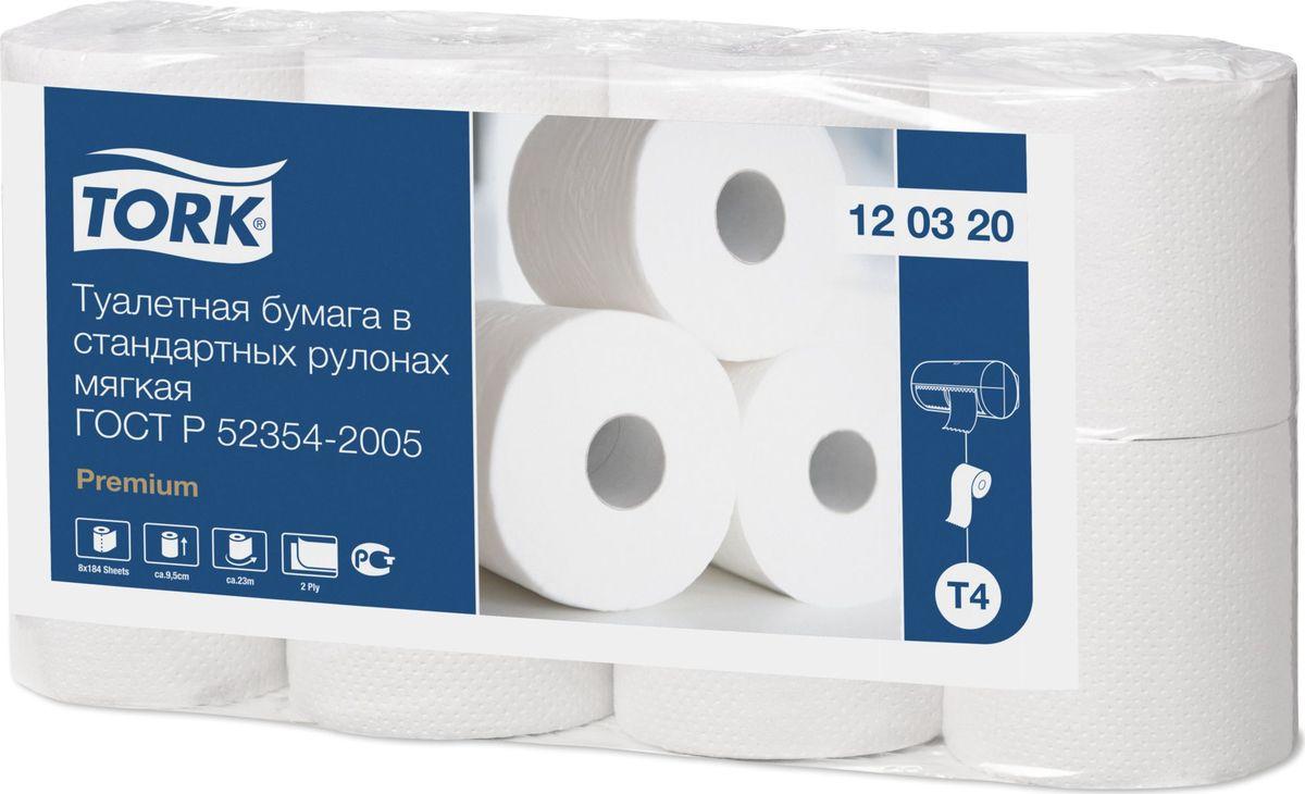 Бумага туалетная Tork  Premium , двухслойная, 8 рулонов, 12 упаковок - Туалетная бумага