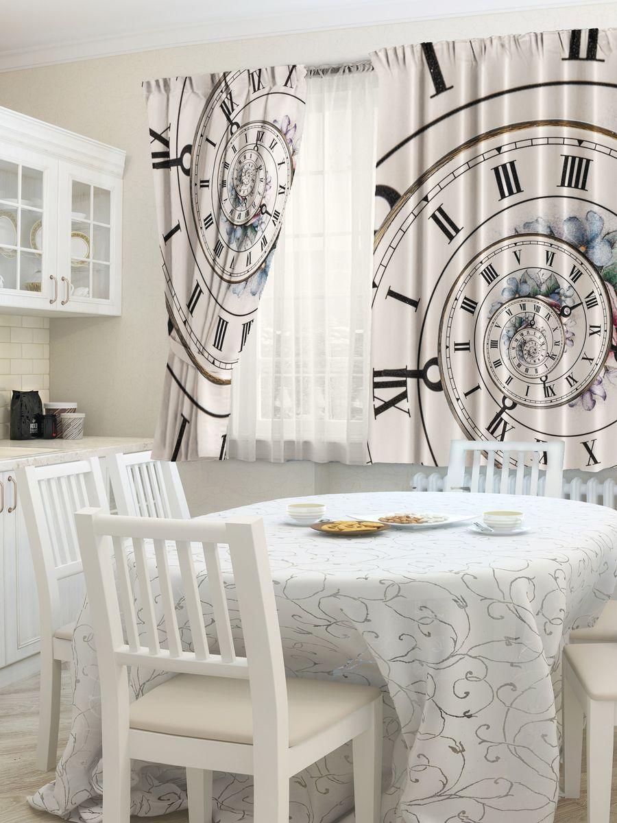 Комплект фотоштор для кухни Zlata Korunka Время, на ленте, высота 160 см21439Комплект штор для кухни Zlata Korunka, выполненный из полиэстера, великолепно украсит любое окно. Комплект состоит из 2 штор. Спокойный рисунок и приятная цветовая гамма привлекут к себе внимание и органично впишутся в интерьер помещения. Этот комплект будет долгое время радовать вас и вашу семью!Комплект крепится на карниз при помощи ленты, которая поможет красиво и равномерно задрапировать верх.