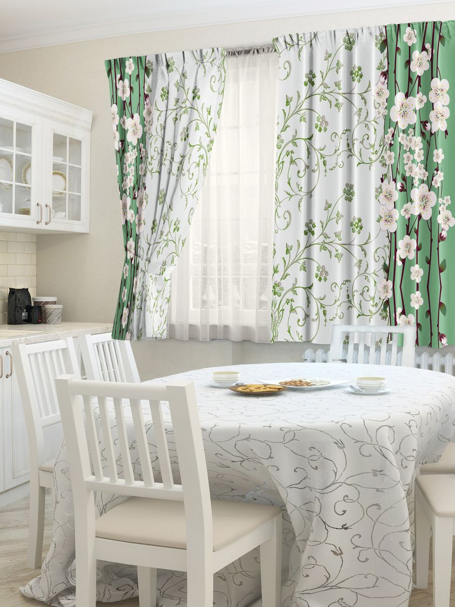 Комплект фотоштор для кухни Zlata Korunka Талисман, на ленте, цвет: зеленый, высота 160 см21441Комплект штор для кухни Zlata Korunka, выполненный из полиэстера, великолепно украсит любое окно. Комплект состоит из 2 штор. Яркий рисунок и приятная цветовая гамма привлекут к себе внимание и органично впишутся в интерьер помещения. Этот комплект будет долгое время радовать вас и вашу семью!Комплект крепится на карниз при помощи ленты, которая поможет красиво и равномерно задрапировать верх.