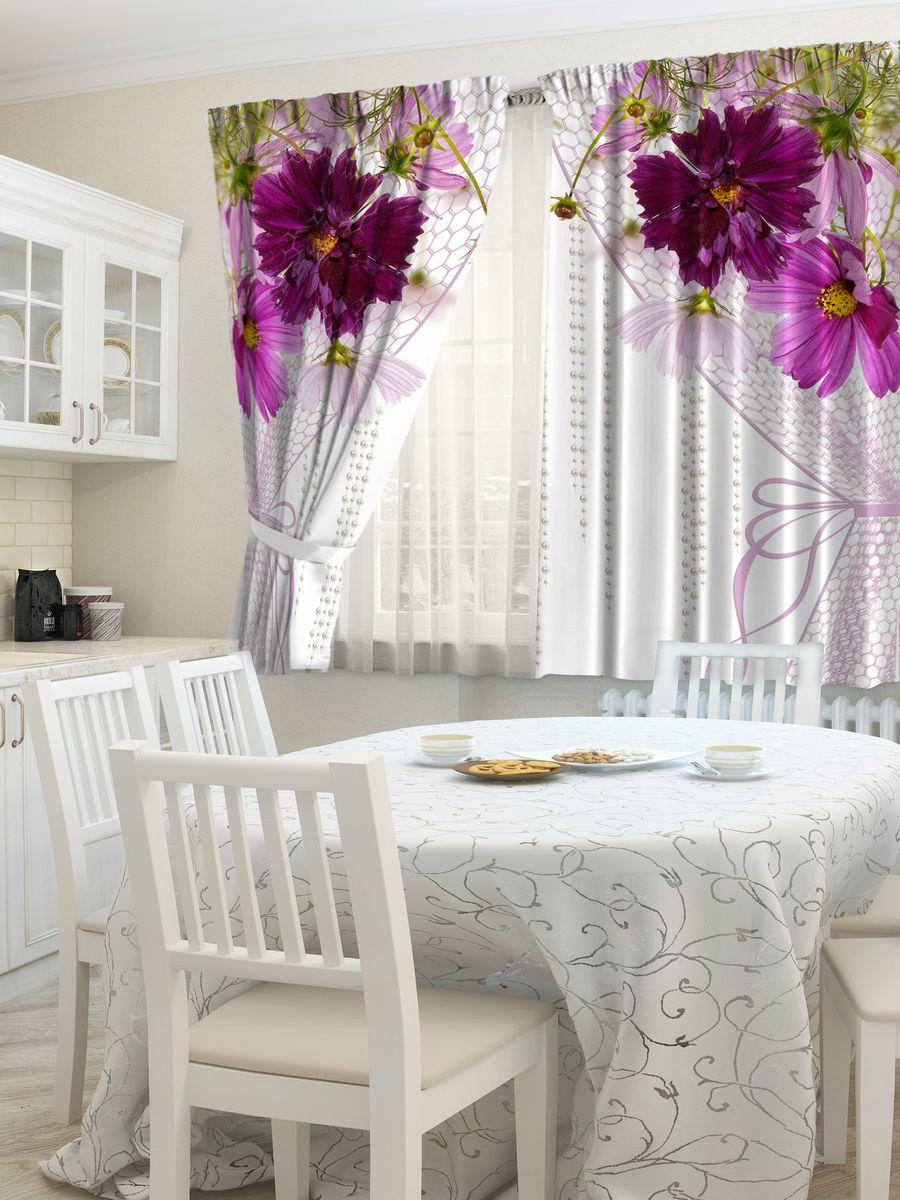Комплект фотоштор для кухни Zlata Korunka Цветочная вуаль, на ленте, высота 160 см21442Комплект штор для кухни Zlata Korunka, выполненный из полиэстера, великолепно украсит любое окно. Комплект состоит из 2 штор. Яркий рисунок и приятная цветовая гамма привлекут к себе внимание и органично впишутся в интерьер помещения. Этот комплект будет долгое время радовать вас и вашу семью!Комплект крепится на карниз при помощи ленты, которая поможет красиво и равномерно задрапировать верх.