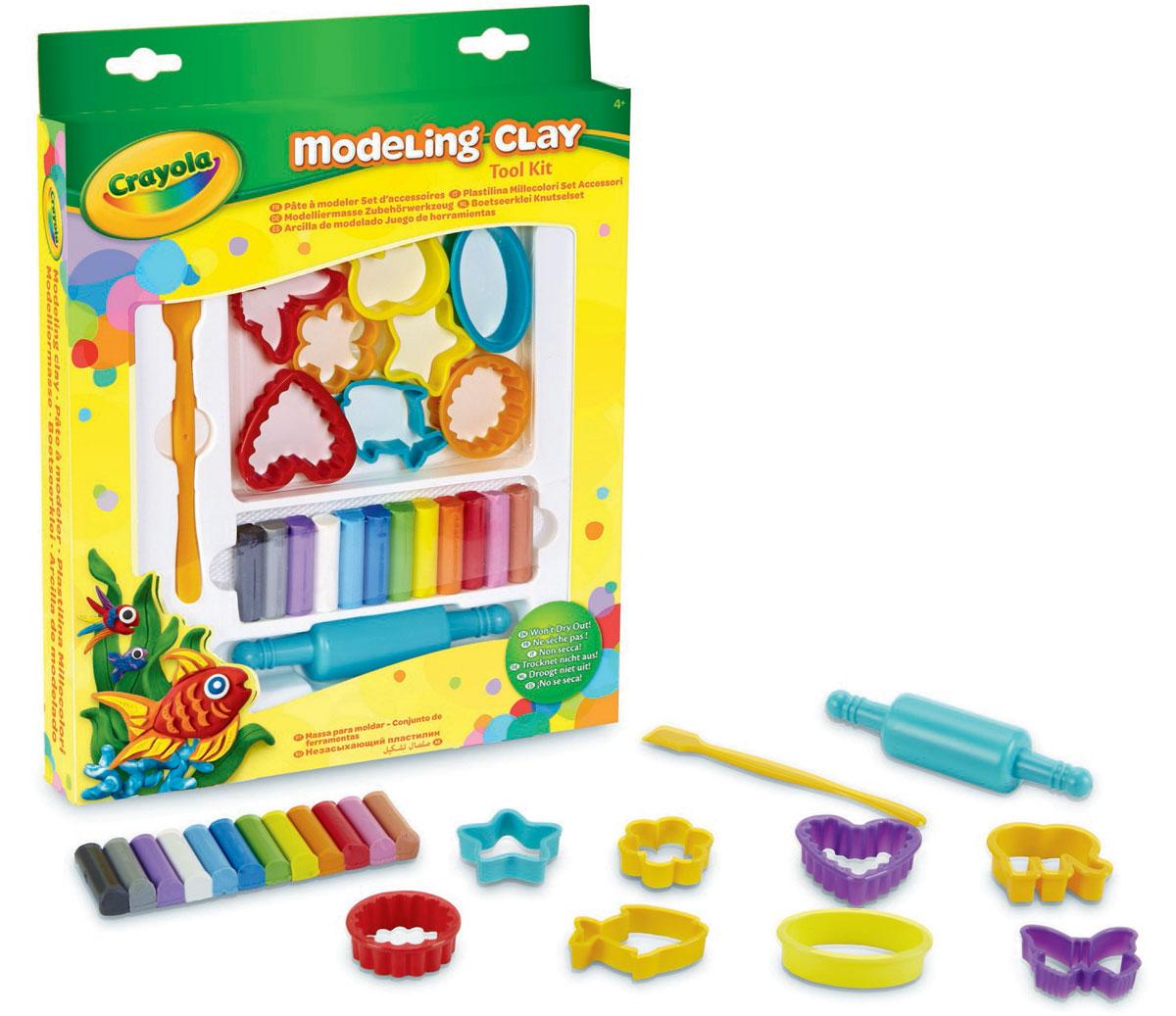Crayola Набор для творчества 57-0320N57-0320NНабор для творчества Crayola включает в себя все необходимое длянезабываемого творческого времяпровождения вашего малыша. В набор входят 12 кусков пластилина различных классических цветов. Также в наборе - 8 разнообразных формочек для лепки, скалка для удобного раскатывания пластилина и стек. Лепка из пластилина поможет ребенку развить воображение и мелкую моторику рук. Кроме того ребенок начнет лучше воспринимать форму, фактуру и цвета предметов. Продукция бренда Crayola изготавливается из безопасных и нетоксичных материалов. Пластилин не сможет навредить здоровью вашего ребенка, поэтому он идеально подойдут для юных начинающих скульпторов. Пластилин рекомендован для детей в возрасте от 4 лет.