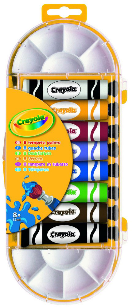 Crayola Краска темперная 8 цветов7407Каждый ребёнок любит рисовать! А с превосходным набором качественных темперных красок Crayola создавать шедевры одно удовольствие!В комплекте 8 тюбиков по 12 мл. с красками различных цветов (черный, коричневый, сиреневый, синий, зелёный, красный, жёлтый и белый), кисточка для рисования и две палитры, с помощью которых можно смешивать темперу различных цветов, а также её разводить с водой. Краска идеально ложится на любую поверхность – будь то обычная бумага или грунтованный холст, дерево или ткань. Набор темперы в тюбиках Crayola предназначен для детей от 6 лет. Создавая новые шедевры на бумаге или холсте, ребёнок развивает свои творческие навыки и воображение.