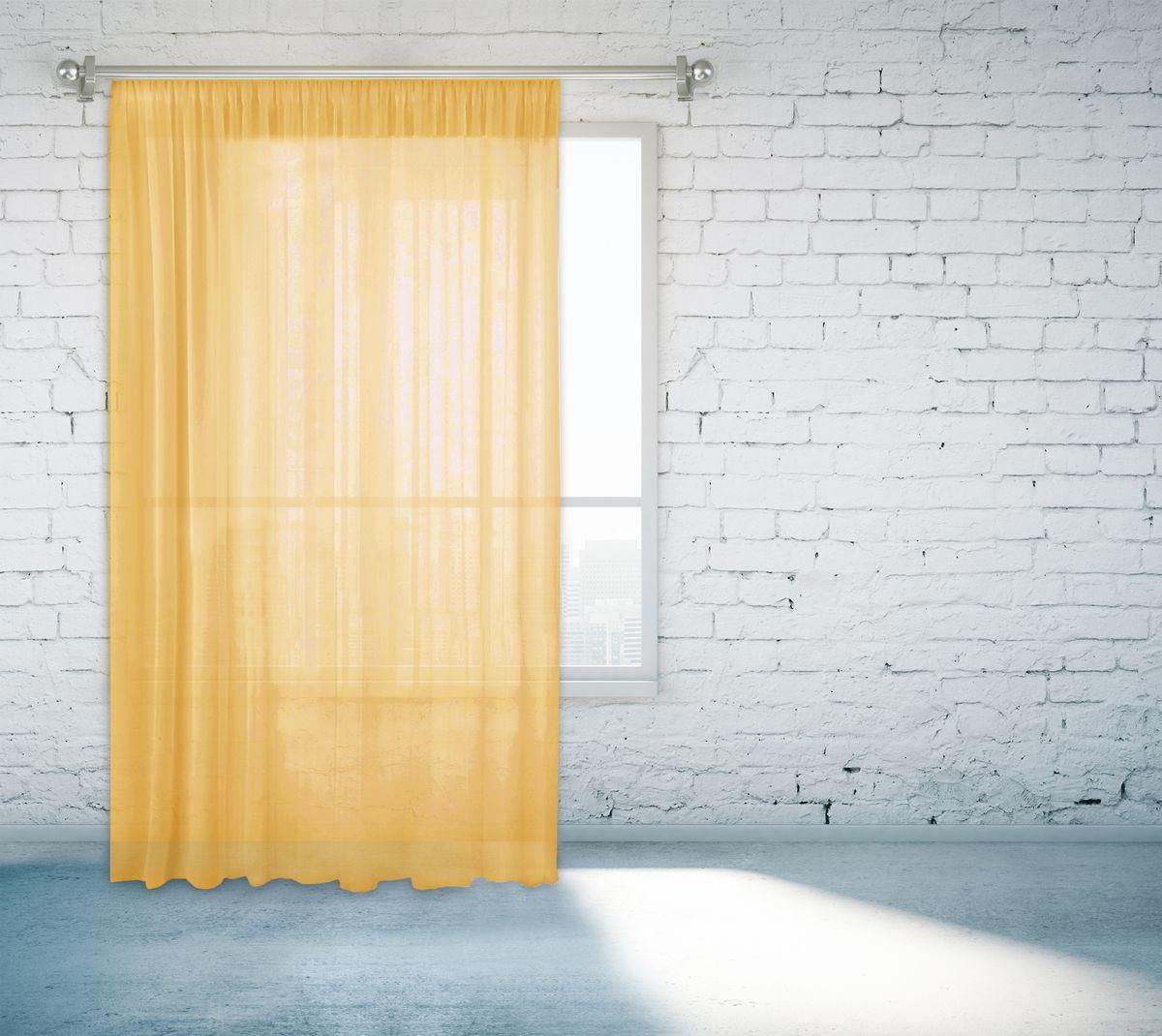 Тюль Zlata Korunka, на ленте, цвет: желтый, высота 260 см. 55670-1155670-11Тюль Zlata Korunka изготовлен из 100% полиэстера и великолепно украсит любое окно. Воздушная ткань и приятная, приглушенная гамма привлекут к себе внимание и органично впишутся в интерьер помещения. Полиэстер - вид ткани, состоящий из полиэфирных волокон. Ткани из полиэстера - легкие, прочные и износостойкие. Такие изделия не требуют специального ухода, не пылятся и почти не мнутся.Крепление к карнизу осуществляется с использованием тесьмы. Такой тюль идеально оформит интерьер любого помещения.