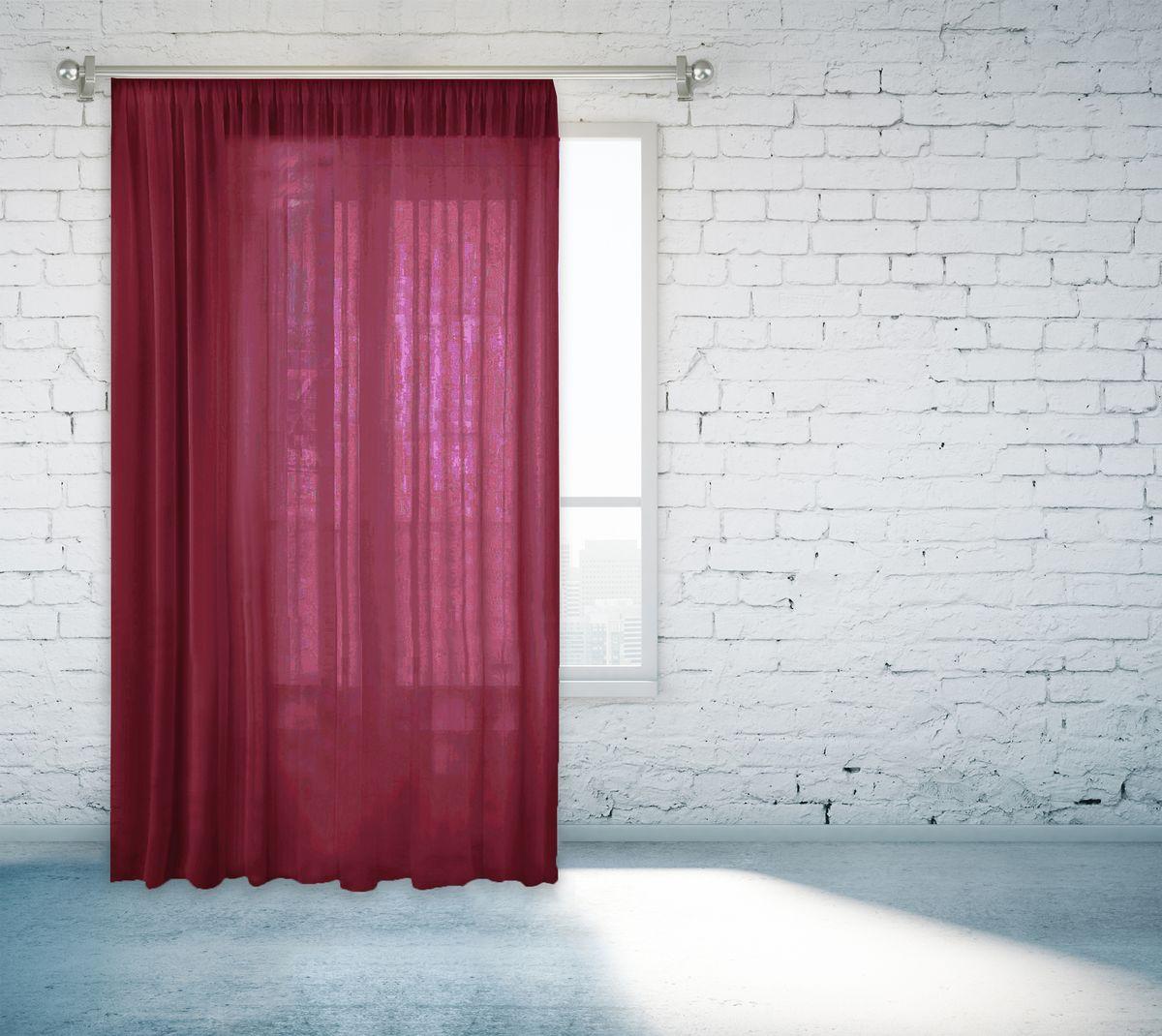Тюль Zlata Korunka, на ленте, цвет: бордовый, высота 260 см55670-13Тюль Zlata Korunka изготовлен из 100% полиэстера и великолепно украсит любое окно. Воздушная ткань и приятная, приглушенная гамма привлекут к себе внимание и органично впишутся в интерьер помещения. Полиэстер - вид ткани, состоящий из полиэфирных волокон. Ткани из полиэстера - легкие, прочные и износостойкие. Такие изделия не требуют специального ухода, не пылятся и почти не мнутся.Крепление к карнизу осуществляется с использованием тесьмы. Такой тюль идеально оформит интерьер любого помещения.