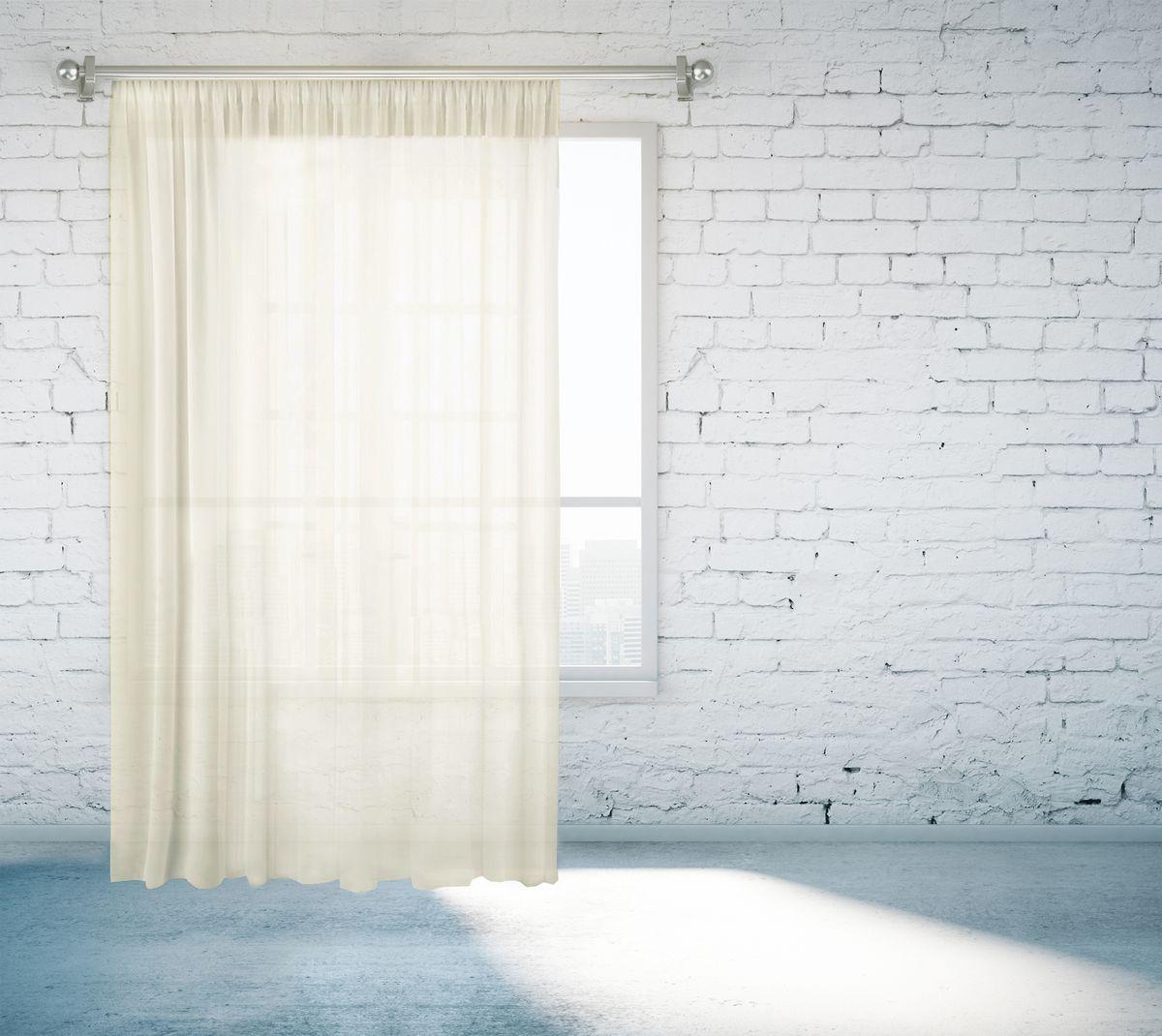 Тюль Zlata Korunka, на ленте, цвет: молочный, высота 260 см. 55670-1455670-14Тюль Zlata Korunka изготовлен из 100% полиэстера и великолепно украсит любое окно. Воздушная ткань и приятная, приглушенная гамма привлекут к себе внимание и органично впишутся в интерьер помещения. Полиэстер - вид ткани, состоящий из полиэфирных волокон. Ткани из полиэстера - легкие, прочные и износостойкие. Такие изделия не требуют специального ухода, не пылятся и почти не мнутся.Крепление к карнизу осуществляется с использованием тесьмы. Такой тюль идеально оформит интерьер любого помещения.
