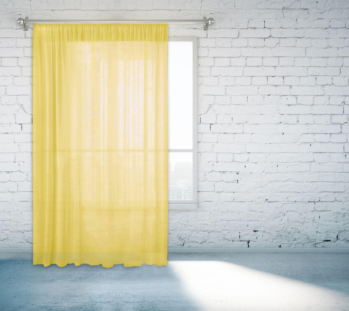 Тюль Zlata Korunka, на ленте, цвет: светло-желтый, высота 260 см. 55670-1555670-15Тюль Zlata Korunka, изготовленный из полиэстера, великолепно украсит любое окно. Воздушная ткань и приятная, приглушенная гамма привлекут к себе внимание и органично впишутся в интерьер помещения. Полиэстер - вид ткани, состоящий из полиэфирных волокон. Ткани из полиэстера - легкие, прочные и износостойкие. Такие изделия не требуют специального ухода, не пылятся и почти не мнутся.Тюль крепится на карниз при помощи ленты, которая поможет красиво и равномерно задрапировать верх. Такой тюль идеально оформит интерьер любого помещения.