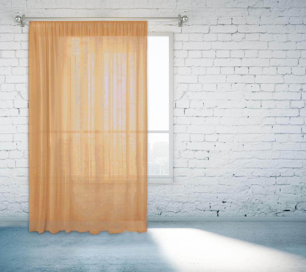 Тюль Zlata Korunka, на ленте, цвет: светло-коричневый, высота 260 см. 55670-1655670-16Тюль Zlata Korunka, изготовленный из полиэстера, великолепно украсит любое окно. Воздушная ткань и приятная, приглушенная гамма привлекут к себе внимание и органично впишутся в интерьер помещения. Полиэстер - вид ткани, состоящий из полиэфирных волокон. Ткани из полиэстера - легкие, прочные и износостойкие. Такие изделия не требуют специального ухода, не пылятся и почти не мнутся.Тюль крепится на карниз при помощи ленты, которая поможет красиво и равномерно задрапировать верх. Такой тюль идеально оформит интерьер любого помещения.
