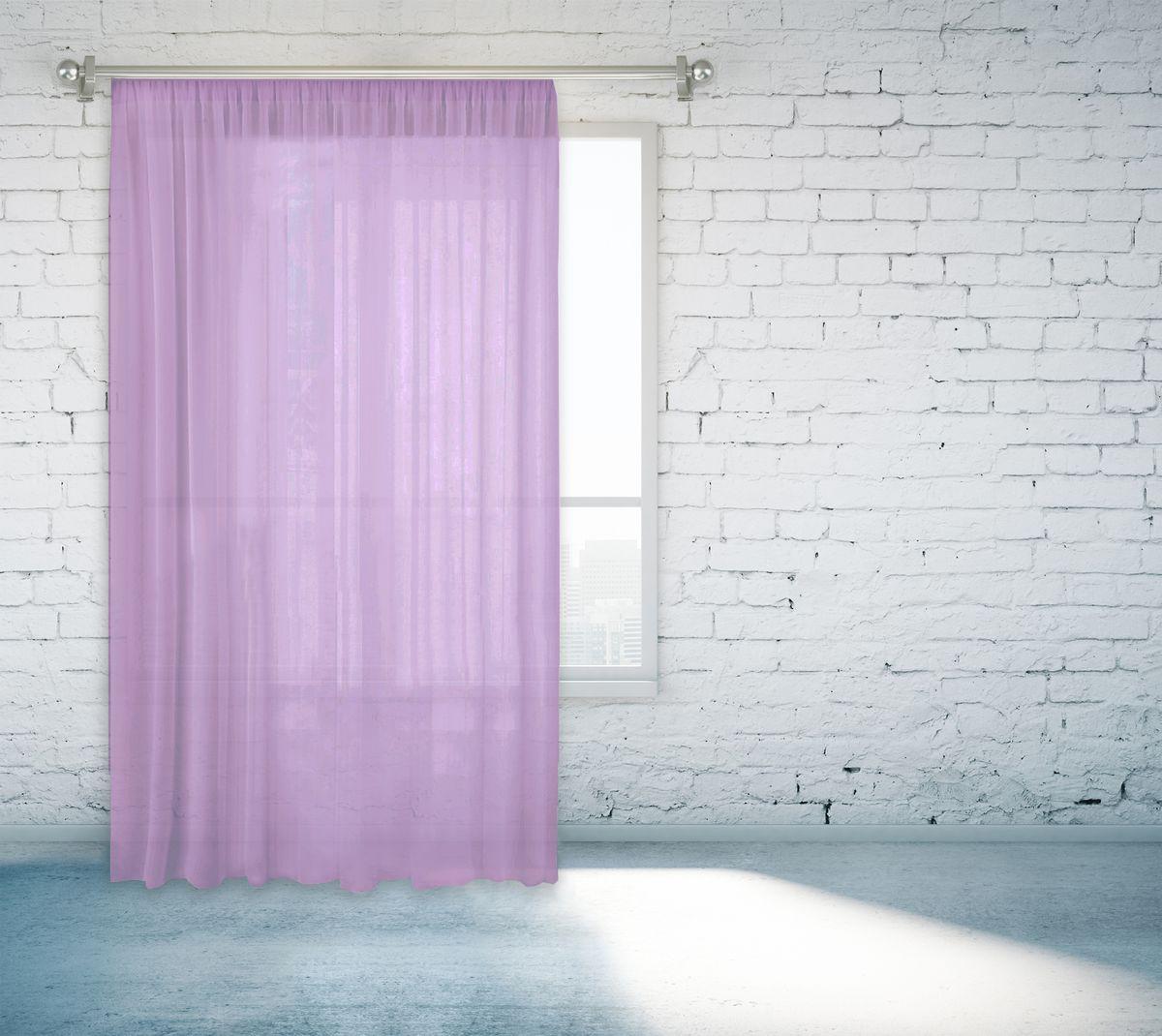 Тюль Zlata Korunka, на ленте, цвет: сиреневый, высота 260 см. 55670-955670-9Тюль Zlata Korunka, изготовленный из полиэстера, великолепно украсит любое окно. Воздушная ткань и приятная, приглушенная гамма привлекут к себе внимание и органично впишутся в интерьер помещения. Полиэстер - вид ткани, состоящий из полиэфирных волокон. Ткани из полиэстера - легкие, прочные и износостойкие. Такие изделия не требуют специального ухода, не пылятся и почти не мнутся.Тюль крепится на карниз при помощи ленты, которая поможет красиво и равномерно задрапировать верх. Такой тюль идеально оформит интерьер любого помещения.