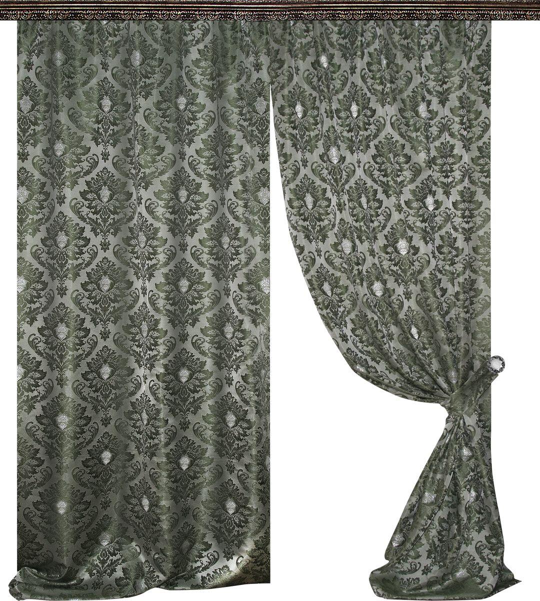 Комплект штор Zlata Korunka, на ленте, цвет: зеленый, высота 270 см. 777004777004Роскошный комплект штор Zlata Korunka комплект состоит из двух штор и двух подхватов, выполненных из 100% полиэстера, которые великолепно украсит любое окно.Плотная ткань, оригинальный орнамент и приятная цветовая гамма привлекут к себе внимание и органично впишутся в интерьер помещения. Комплект крепится на карниз при помощи шторной ленты, которая поможет красиво и равномерно задрапировать верх.Этот комплект будет долгое время радовать вас и вашу семью! В комплект входит: Штора: 2 шт. Размер (ШхВ): 145 см х 270 см. Подхват: 2 шт.