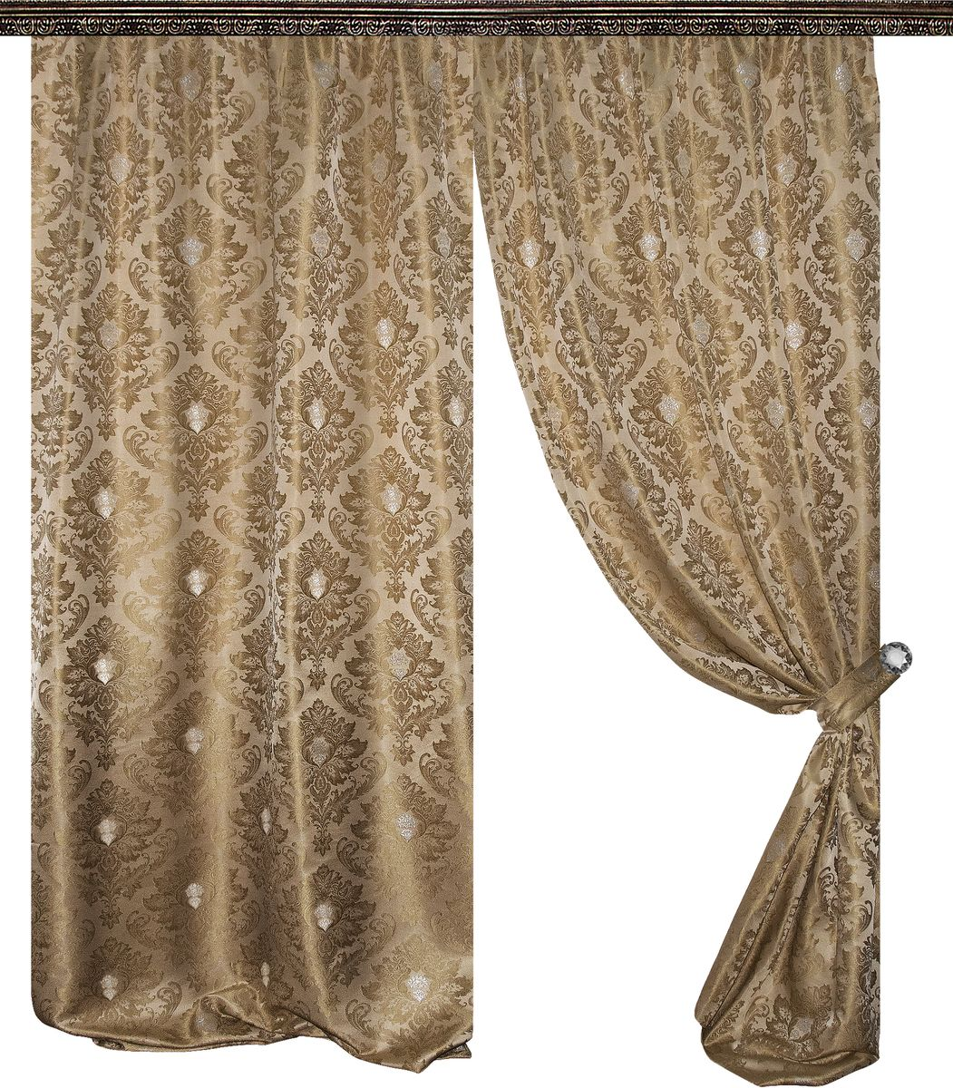 Комплект штор Zlata Korunka, на ленте, цвет: золотой, высота 270 см. 777006777006Роскошный комплект штор Zlata Korunka комплект состоит из двух штор и двух подхватов, выполненных из 100% полиэстера, которые великолепно украсит любое окно.Плотная ткань, оригинальный орнамент и приятная, приглушенная гамма привлекут к себе внимание и органично впишутся в интерьер помещения. Комплект крепится на карниз при помощи шторной ленты, которая поможет красиво и равномерно задрапировать верх.Этот комплект будет долгое время радовать вас и вашу семью! В комплект входит: Штора: 2 шт. Размер (ШхВ): 145 см х 270 см. Подхват: 2 шт.