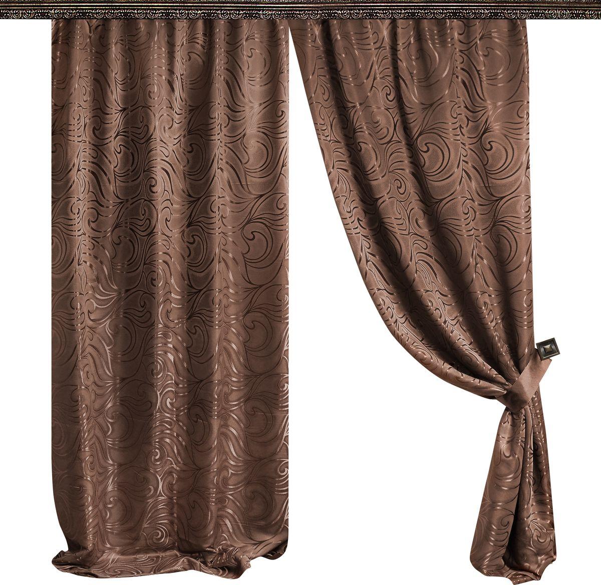 Комплект штор Zlata Korunka, на ленте, цвет: коричневый, высота 265 см. 777013777013Роскошный комплект штор Zlata Korunka комплект состоит из двух портьер и двух подхватов, выполненных из 100% полиэстера, которыевеликолепно украсит любое окно. Плотная ткань, оригинальный орнамент и приятная цветовая гамма привлекут к себе внимание и органично впишутся в интерьерпомещения.Комплект крепится на карниз при помощи шторной ленты, которая поможеткрасиво и равномерно задрапировать верх. Этот комплект будет долгое время радовать вас и вашу семью!В комплект входит:Портьера: 2 шт. Размер (ШхВ): 145 см х 265 см.Подхват: 2 шт.