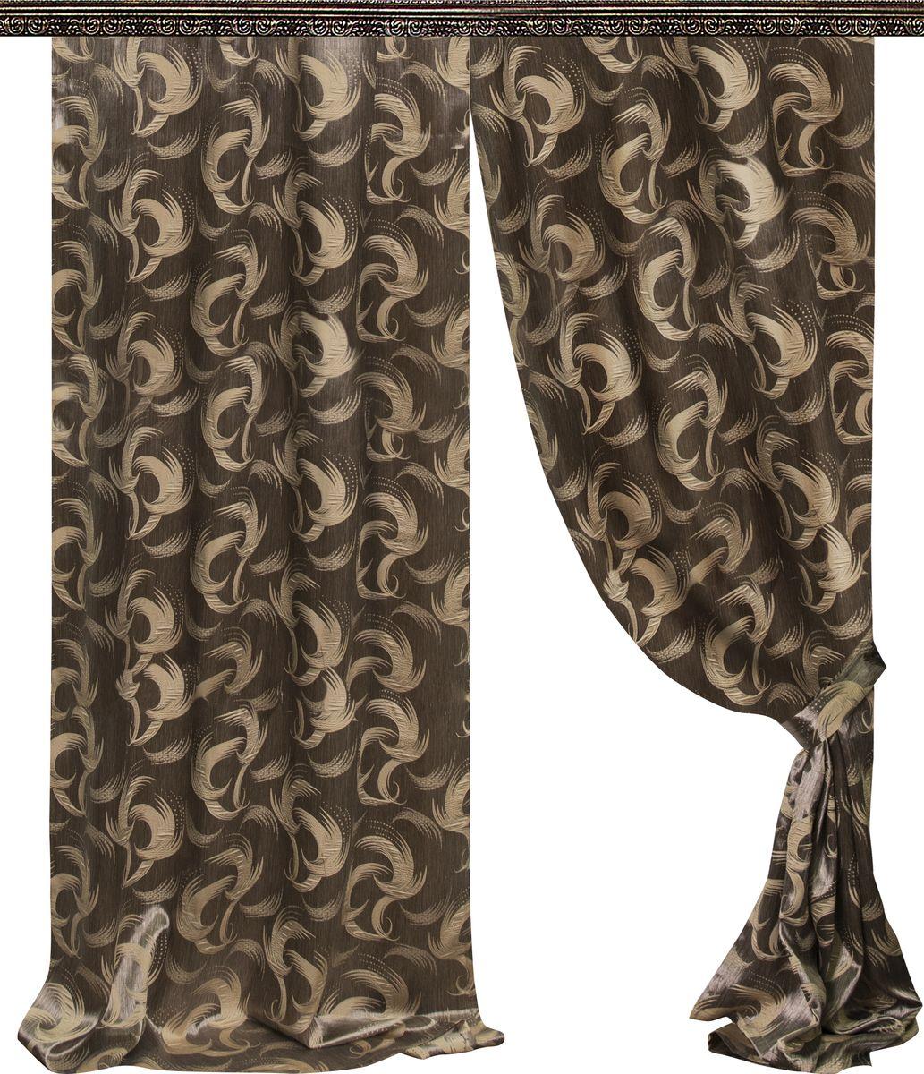 Комплект штор Zlata Korunka, на ленте, цвет: коричневый, высота 275 см. 777017777017Роскошный комплект штор Zlata Korunka, выполненный из 100% полиэстера, великолепно украсит любое окно. Комплект состоит из двух штор и двух подхватов. Плотная ткань, оригинальный принт и приятная, приглушенная гамма привлекут к себе внимание и органично впишутся в интерьер помещения. Комплект крепится на карниз при помощи шторной ленты, которая поможет красиво и равномерно задрапировать верх. Шторы можно зафиксировать в одном положении с помощью двух подхватов. Этот комплект будет долгое время радовать вас и вашу семью! В комплект входит: Портьера: 2 шт. Размер (ШхВ): 160 см х 275 см. Подхват: 2 шт. Размер (ШхВ): 60 см х 10 см.