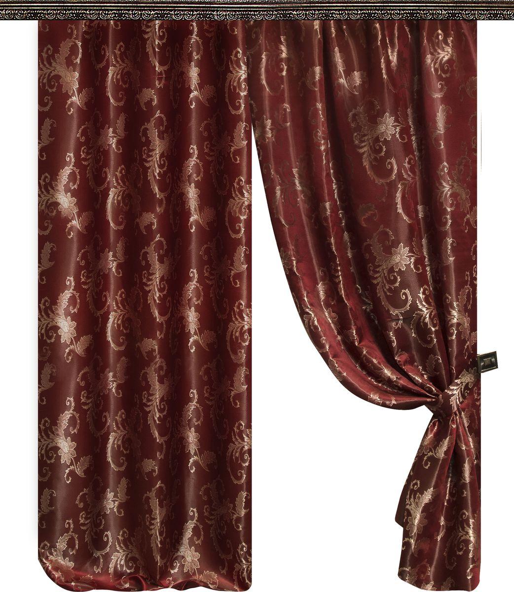Комплект штор Zlata Korunka, на ленте, цвет: бордовый, высота 260 см. 777020777020Роскошный комплект Zlata Korunka комплект состоит из двух штор, выполненных из 100% полиэстера, которые великолепно украсит любое окно.Плотная ткань, оригинальный орнамент и приятная цветовая гамма привлекут к себе внимание и органично впишутся в интерьер помещения. Комплект крепится на карниз при помощи шторной ленты, которая поможет красиво и равномерно задрапировать верх.Этот комплект будет долгое время радовать вас и вашу семью! В комплект входит: Штора: 2 шт. Размер (ШхВ): 145 см х 260 см.