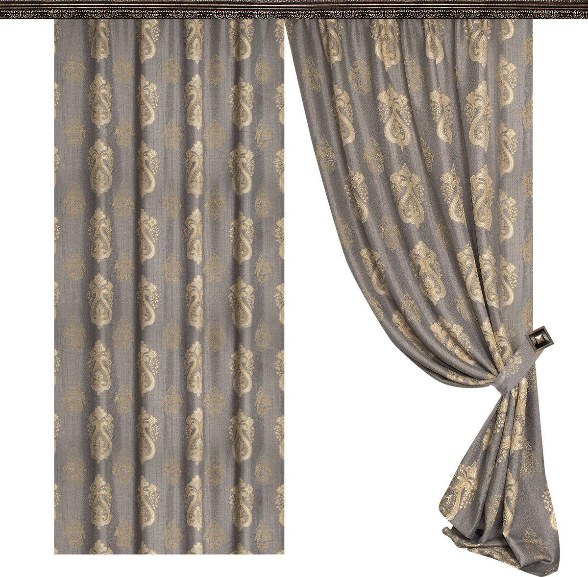 Комплект штор Zlata Korunka, на ленте, цвет: серый, золото, высота 270 см. 777032777032Роскошный комплект штор Zlata Korunka комплект состоит из двух штор и двух подхватов, выполненных из 100% полиэстера, которыевеликолепно украсит любое окно. Плотная ткань, оригинальный орнамент и приятная цветовая гамма привлекут к себе внимание и органично впишутся в интерьерпомещения.Комплект крепится на карниз при помощи шторной ленты, которая поможеткрасиво и равномерно задрапировать верх. Этот комплект будет долгое время радовать вас и вашу семью!В комплект входит:Штора: 2 шт. Размер (ШхВ): 160 см х 270 см.Подхват: 2 шт.