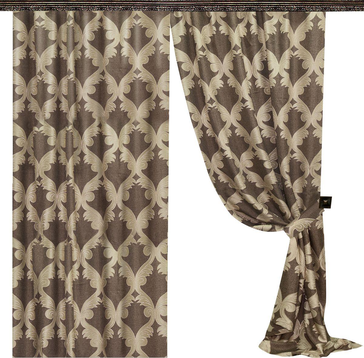 Комплект штор Zlata Korunka, на ленте, цвет: коричневый, высота 270 см. 777034777034Роскошный комплект штор Zlata Korunka комплект состоит из двух штор и двух подхватов, выполненных из 100% полиэстера, которые великолепно украсит любое окно.Плотная ткань, оригинальный орнамент и приятная цветовая гамма привлекут к себе внимание и органично впишутся в интерьер помещения. Комплект крепится на карниз при помощи шторной ленты, которая поможет красиво и равномерно задрапировать верх.Этот комплект будет долгое время радовать вас и вашу семью! В комплект входит: Штора: 2 шт. Размер (ШхВ): 160 см х 270 см. Подхват: 2 шт.
