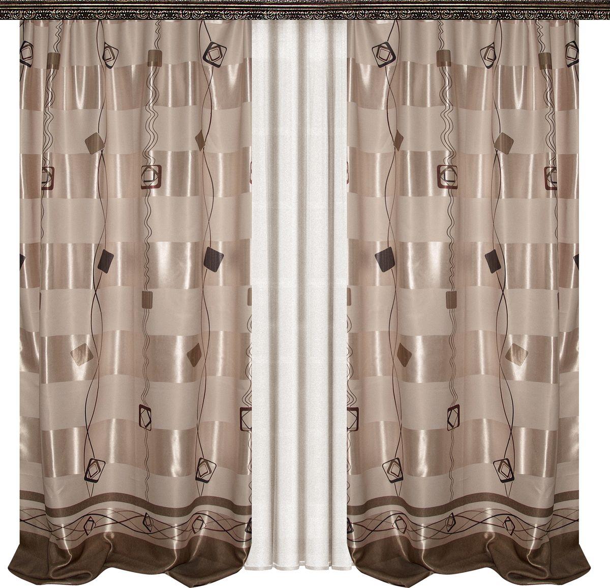 Комплект штор Zlata Korunka, на ленте, цвет: бежевый, высота 270 см. 777043777043Роскошный комплект штор Zlata Korunka, выполненный из 100% полиэстера, великолепно украсит любое окно. Комплект состоит из двух штор и тюли из белой вуали. Плотная ткань, оригинальный орнамент и приятная, приглушенная гамма привлекут к себе внимание и органично впишутся в интерьер помещения. Комплект крепится на карниз при помощи шторной ленты, которая поможет красиво и равномерно задрапировать верх. Этот комплект будет долгое время радовать вас и вашу семью! В комплект входит: Штора: 2 шт. Размер (ШхВ): 160 см х 270 см. Тюль: 1 шт. Размер (ШхВ): 400 см х 270 см.