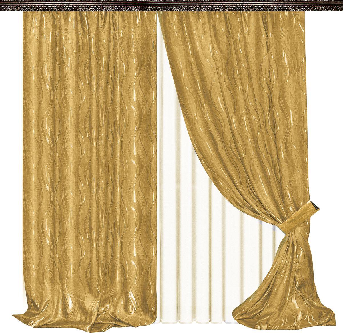 Комплект штор Zlata Korunka, на ленте, цвет: золотой, высота 270 см. 777045