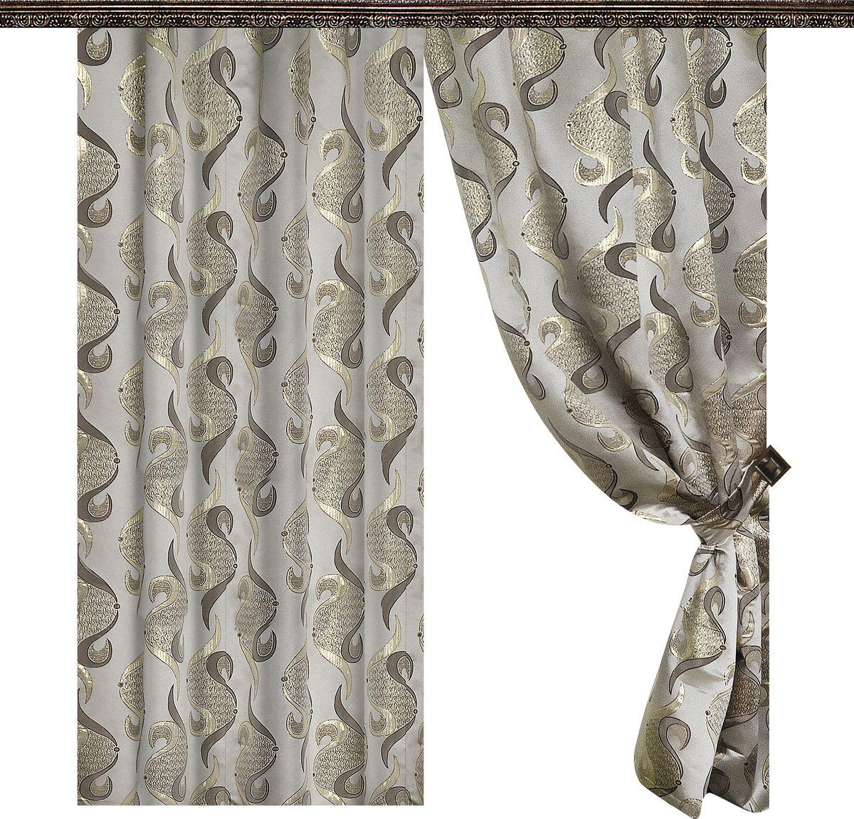 Комплект штор Zlata Korunka, на ленте, цвет: серый, высота 265 см85177Роскошный комплект штор Zlata Korunka комплект состоит из двух штор и двух подхватов, выполненных из 100% полиэстера, которыевеликолепно украсит любое окно. Плотная ткань, оригинальный орнамент и приятная цветовая гамма привлекут к себе внимание и органично впишутся в интерьерпомещения.Комплект крепится на карниз при помощи шторной ленты, которая поможеткрасиво и равномерно задрапировать верх. Этот комплект будет долгое время радовать вас и вашу семью!В комплект входит:Штора: 2 шт. Размер (ШхВ): 145 см х 265 см.Подхват: 2 шт.