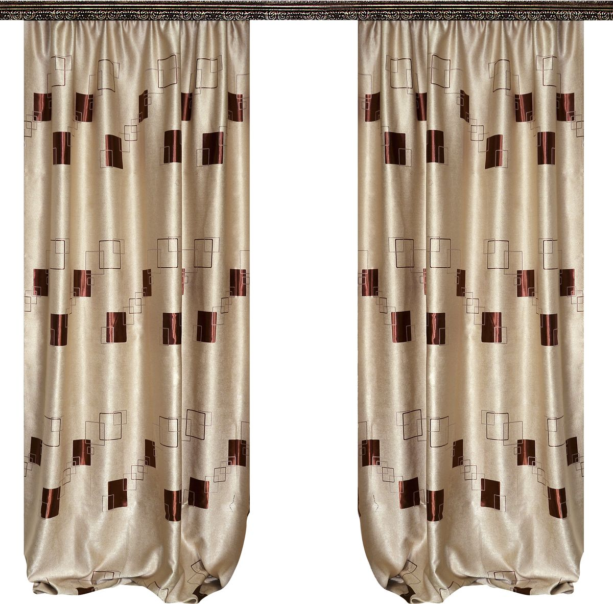 Комплект штор Zlata Korunka, на ленте, цвет: бежевый, высота 270 см. 777050777050Роскошный комплект штор Zlata Korunka комплект состоит из двух штор, выполненных из 100% полиэстера, которые великолепно украсит любое окно.Плотная ткань, оригинальный орнамент и приятная, приглушенная гамма привлекут к себе внимание и органично впишутся в интерьер помещения. Комплект крепится на карниз при помощи шторной ленты, которая поможет красиво и равномерно задрапировать верх.Этот комплект будет долгое время радовать вас и вашу семью! В комплект входит: Штора: 2 шт. Размер (ШхВ): 160 см х 270 см.