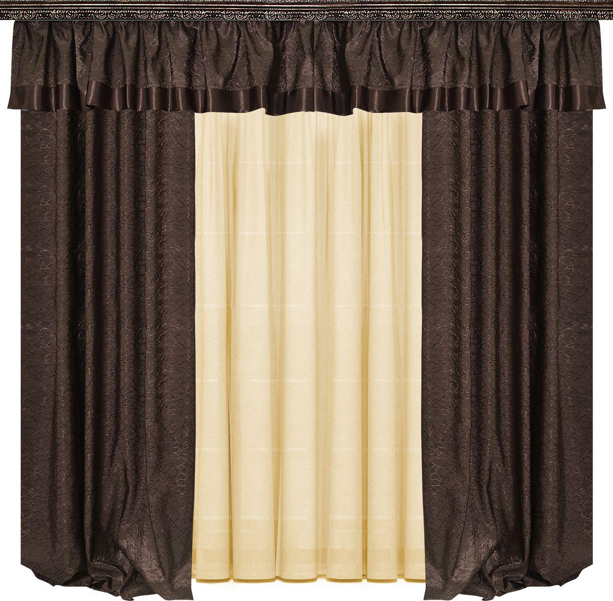 Комплект штор Zlata Korunka, на ленте, цвет: венге, высота 260 см. 77705155670-5Комплект штор Zlata Korunka великолепно украсит любое окно. Комплект состоит из двух портьер, тюля и ламбрекена. Тюль выполнен из вуалевой ткани, портьеры изготовлены из жаккардовой ткани с изящным узором. Оригинальный дизайн и контрастная цветовая гамма привлекут к себе внимание и органично впишутся в интерьер комнаты. Все предметы комплекта оснащены шторной лентой для собирания в сборки.