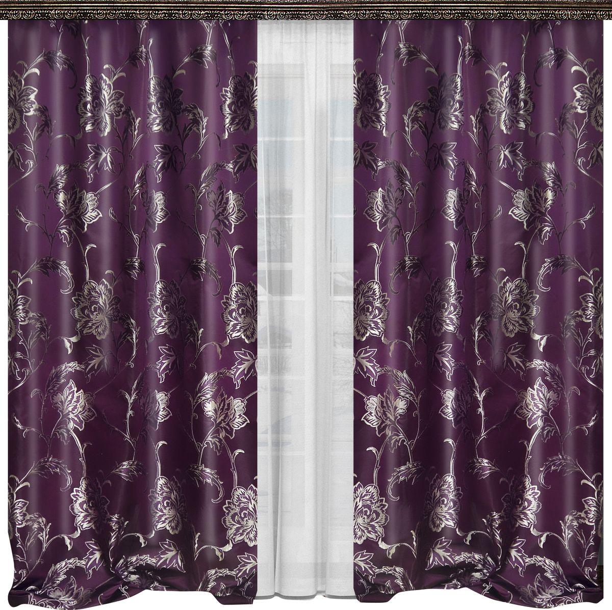 Комплект штор Zlata Korunka, на ленте, цвет: фиолетовый, белый, высота 265 см. 777052777052Роскошный комплект штор Zlata Korunka, выполненный из полиэстера, великолепно украсит любое окно. Комплект состоит из двух штор и тюля. Изящный рисунок и приятная цветовая гамма привлекут к себе внимание и органично впишутся в интерьер помещения.Этот комплект будет долгое время радовать вас и вашу семью!Комплект крепится на карниз при помощи ленты, которая поможет красиво и равномерно задрапировать верх.