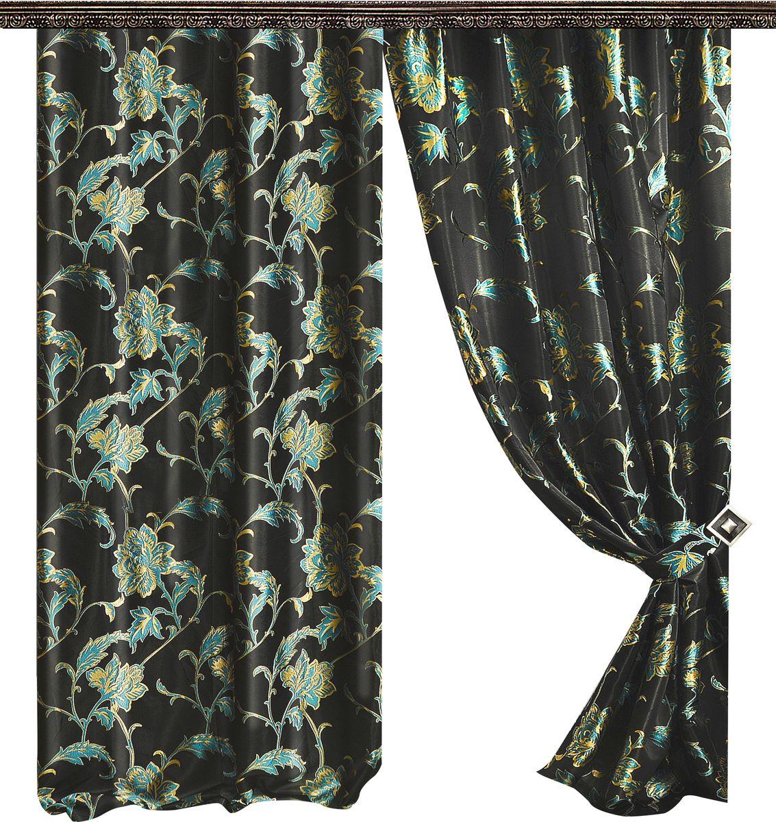 Комплект штор Zlata Korunka, на ленте, цвет: мультиколор, высота 260 см. 777055777055Роскошный комплект Zlata Korunka комплект состоит из двух штор и двух подхватов, выполненных из 100% полиэстера, которые великолепно украсит любое окно.Плотная ткань, оригинальный орнамент и приятная цветовая гамма привлекут к себе внимание и органично впишутся в интерьер помещения. Комплект крепится на карниз при помощи шторной ленты, которая поможет красиво и равномерно задрапировать верх.Этот комплект будет долгое время радовать вас и вашу семью! В комплект входит: Штора: 2 шт. Размер (ШхВ): 145 см х 260 см.Подхват: 2 шт.