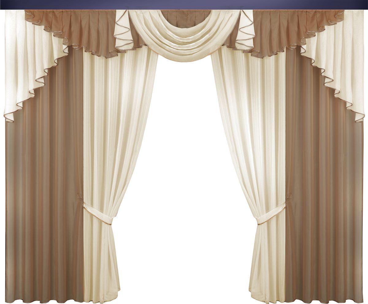 Комплект штор Zlata Korunka, на ленте, цвет: бежевый, высота 250 см. 777057777057Комплект штор Zlata Korunka великолепно украсит любое окно. Комплект состоит из портьер, тюля и ламбрекена. Для более изящного расположения на окне предусмотрены подхваты из атласной ленты.Комплект выполнен из вуалевой ткани пастельного оттенка. Оригинальный дизайн и контрастная цветовая гамма привлекут к себе внимание и органично впишутся в интерьер комнаты. Все предметы комплекта оснащены шторной лентой для собирания в сборки.В комплект входит: Ламбрекен: 1 шт. Размер (Ш х В): 320 см х 100 см. Тюль: 2 шт. Размер (Ш х В): 140 см х 250 см.Штора: 2 шт. Размер (Ш х В): 140 см х 250 см.Подхват: 2 шт.
