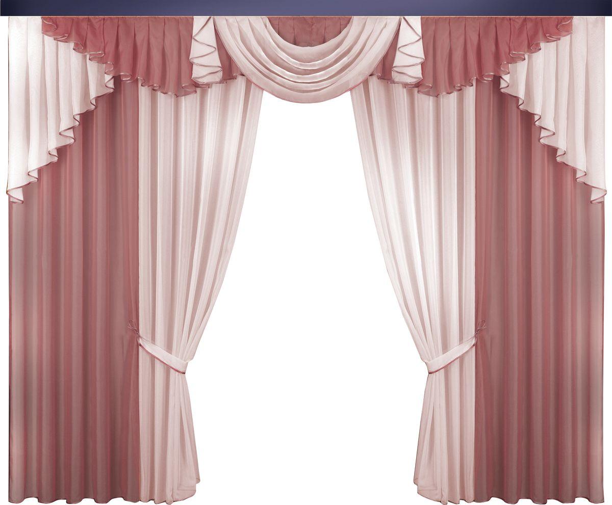 Комплект штор Zlata Korunka, на ленте, цвет: бордовый, розовый, высота 250 см. 777058777058Комплект штор Zlata Korunka великолепно украсит любое окно. Комплект состоит из штор, тюля и ламбрекена. Для более изящного расположения на окне предусмотрены подхваты из атласной ленты.Комплект выполнен из вуалевой ткани пастельного оттенка. Оригинальный дизайн и контрастная цветовая гамма привлекут к себе внимание и органично впишутся в интерьер комнаты. Все предметы комплекта оснащены шторной лентой для собирания в сборки.