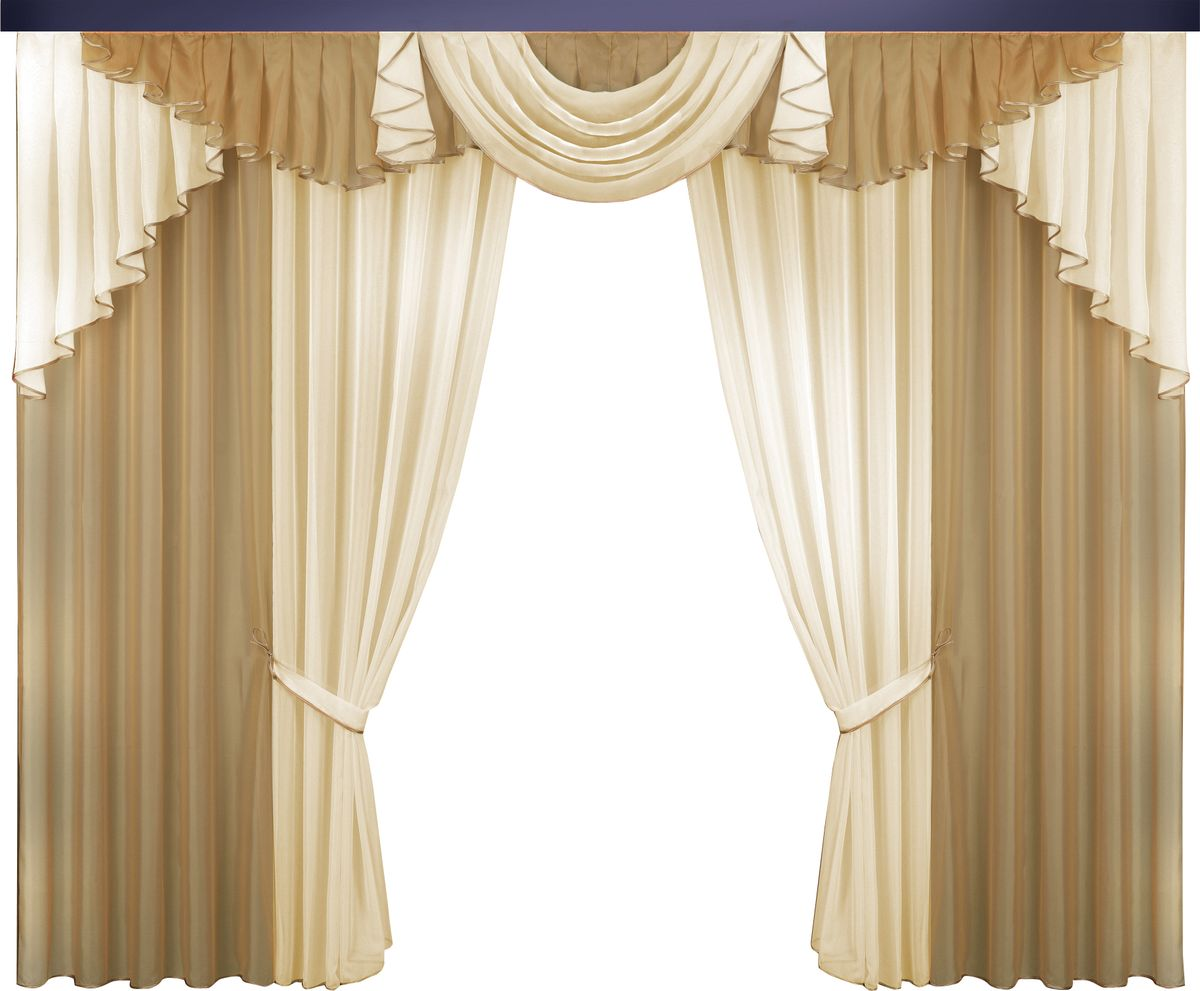 Комплект штор Zlata Korunka, на ленте, цвет: карамельный, высота 250 см. 777059777059омплект штор Zlata Korunka великолепно украсит любое окно. Комплект состоит из портьер, тюля и ламбрекена. Для более изящного расположения на окне предусмотрены подхваты из атласной ленты.Комплект выполнен из вуалевой ткани пастельного оттенка. Оригинальный дизайн и контрастная цветовая гамма привлекут к себе внимание и органично впишутся в интерьер комнаты. Все предметы комплекта оснащены шторной лентой для собирания в сборки.В комплект входит: Ламбрекен: 1 шт. Размер (Ш х В): 320 см х 100 см. Тюль: 2 шт. Размер (Ш х В): 140 см х 250 см.Штора: 2 шт. Размер (Ш х В): 140 см х 250 см.Подхват: 2 шт.