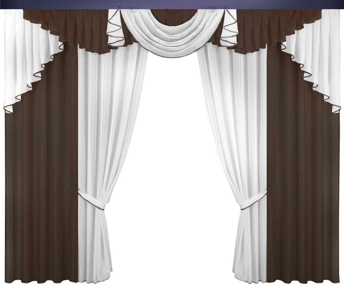 """Комплект штор """"Zlata Korunka"""" великолепно украсит любое окно. Комплект состоит из портьер, тюля и ламбрекена. Для более изящного  расположения на окне предусмотрены подхваты из атласной ленты.  Комплект выполнен из вуалевой ткани пастельного оттенка.  Оригинальный дизайн и контрастная цветовая гамма привлекут к себе внимание и органично впишутся в интерьер комнаты. Все предметы  комплекта оснащены шторной лентой для собирания в сборки.   В комплект входит:  Ламбрекен: 1 шт. Размер (Ш х В): 320 см х 100 см.  Тюль: 2 шт. Размер (Ш х В): 140 см х 250 см.   Штора: 2 шт. Размер (Ш х В): 140 см х 250 см.   Подхват: 2 шт."""