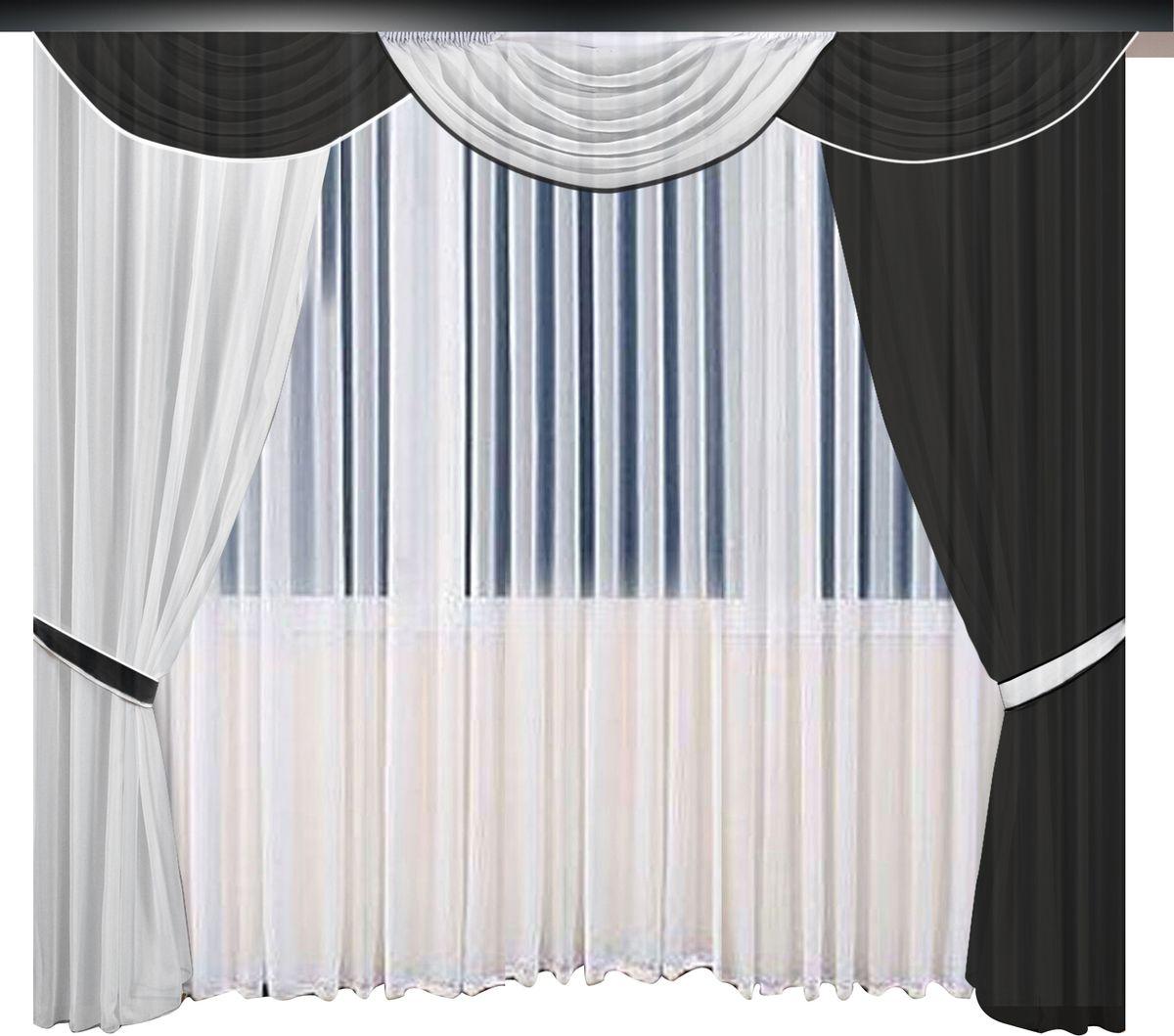 Комплект штор Zlata Korunka, на ленте, цвет: черный, белый, высота 270 см. 777063777063Комплект штор Zlata Korunka великолепно украсит любое окно. Комплект состоит из штор, тюля и ламбрекена. Для более изящного расположения на окне предусмотрены подхваты из атласной ленты.Комплект выполнен из полиэстера. Оригинальный дизайн и контрастная цветовая гамма привлекут к себе внимание и органично впишутся в интерьер комнаты. Все предметы комплекта оснащены шторной лентой для собирания в сборки.