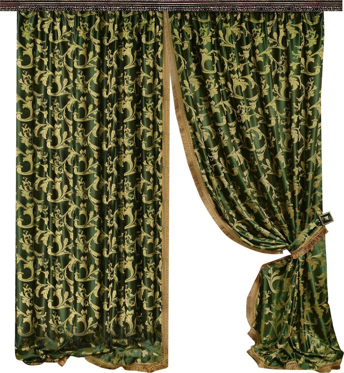 Комплект штор Zlata Korunka, на ленте, цвет: зеленый, высота 270 см. 777064777064Роскошный комплект штор Zlata Korunka комплект состоит из двух штор и двух подхватов, выполненных из 100% полиэстера, которыевеликолепно украсит любое окно. Край штор отделан тесьмой из бахромы. Плотная ткань, оригинальный орнамент и приятная, приглушенная гамма привлекут к себе внимание и органично впишутся в интерьерпомещения.Комплект крепится на карниз при помощи шторной ленты, которая поможеткрасиво и равномерно задрапировать верх. Этот комплект будет долгое время радовать вас и вашу семью!В комплект входит:Штора: 2 шт. Размер (ШхВ): 160 см х 270 см.Подхват: 2 шт.