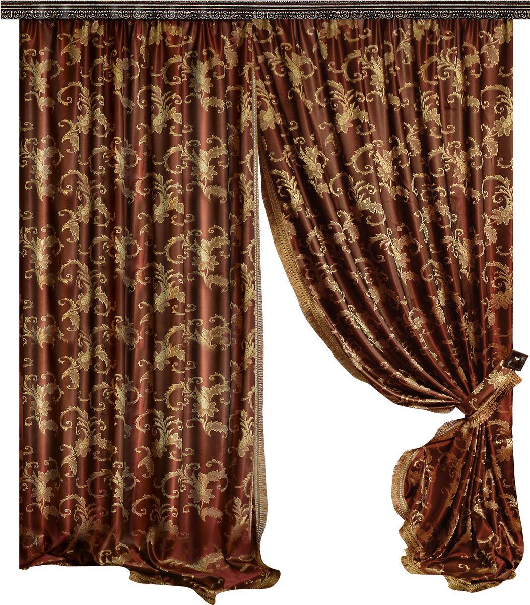 Комплект штор Zlata Korunka, на ленте, цвет: бордовый, высота 270 см. 777065777065Роскошный комплект штор Zlata Korunka комплект состоит из двух штор и двух подхватов, выполненных из 100% полиэстера, которые великолепно украсит любое окно. Край штор отделан тесьмой из бахромы.Плотная ткань, оригинальный орнамент и приятная, приглушенная гамма привлекут к себе внимание и органично впишутся в интерьер помещения. Комплект крепится на карниз при помощи шторной ленты, которая поможет красиво и равномерно задрапировать верх.Этот комплект будет долгое время радовать вас и вашу семью! В комплект входит: Штора: 2 шт. Размер (ШхВ): 160 см х 270 см. Подхват: 2 шт.