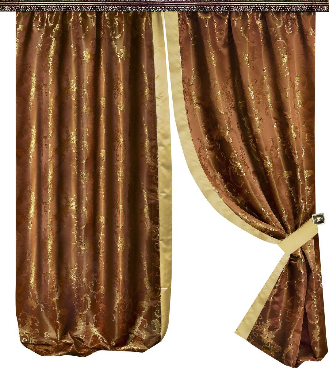 Комплект штор Zlata Korunka, на ленте, цвет: коричневый, высота 265 см. 777066777066Роскошный комплект штор Zlata Korunka комплект состоит из двух портьер и двух подхватов, выполненных из 100% полиэстера, которые великолепно украсит любое окно.Плотная ткань, оригинальный орнамент и приятная цветовая гамма привлекут к себе внимание и органично впишутся в интерьер помещения. Комплект крепится на карниз при помощи шторной ленты, которая поможет красиво и равномерно задрапировать верх.Этот комплект будет долгое время радовать вас и вашу семью! В комплект входит: Штора: 2 шт. Размер (ШхВ): 150 см х 265 см. Подхват: 2 шт.