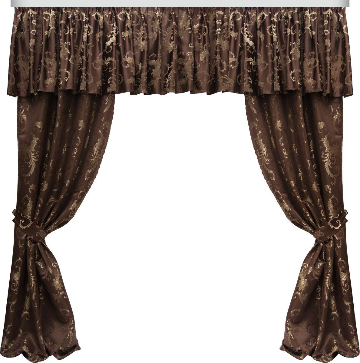 Комплект штор Zlata Korunka, на ленте, цвет: коричневый, высота 270 см. 777071777071Роскошный комплект штор Zlata Korunka, выполненный из 100% полиэстера великолепно украсит любое окно. Комплект состоит из двух штор, ламбрекена и двух подхватов. Сочетание плотной ткани, оригинального орнамента и приятной, приглушенной гаммы привлечет к себе внимание и органично впишется в интерьер помещения. Комплект крепится на карниз при помощи шторной ленты, которая поможет красиво и равномерно задрапировать верх. Шторы можно зафиксировать в одном положении с помощью двух подхватов. Этот комплект будет долгое время радовать вас и вашу семью!
