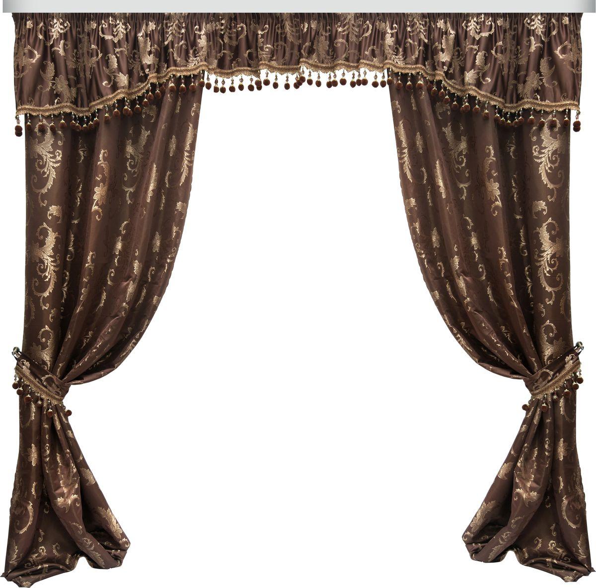 Комплект штор Zlata Korunka, на ленте, цвет: коричневый, высота 265 см. 777073777073Роскошный комплект штор Zlata Korunka, выполненный из 100% полиэстера великолепно украсит любое окно. Комплект состоит из двух штор, ламбрекена и двух подхватов. Сочетание плотной ткани, оригинального орнамента и приятной, приглушенной гаммы привлечет к себе внимание и органично впишется в интерьер помещения. Комплект крепится на карниз при помощи шторной ленты, которая поможет красиво и равномерно задрапировать верх. Шторы можно зафиксировать в одном положении с помощью двух подхватов. Этот комплект будет долгое время радовать вас и вашу семью!