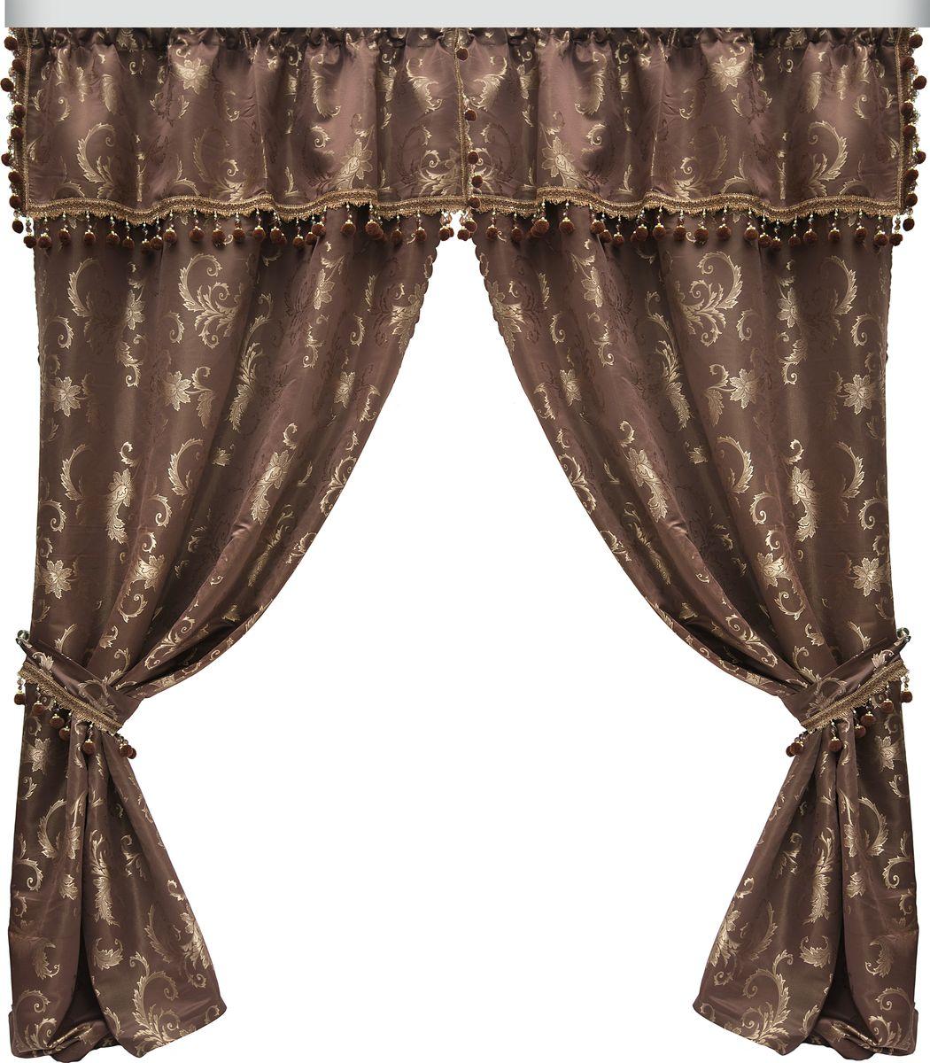 Комплект штор Zlata Korunka, на ленте, цвет: коричневый, высота 265 см. 777074777074Роскошный комплект штор Zlata Korunka, выполненный из 100% полиэстера великолепно украсит любое окно. Комплект состоит из двух штор и двух подхватов. Сочетание плотной ткани, оригинального орнамента и приятной, приглушенной гаммы привлечет к себе внимание и органично впишется в интерьер помещения. Комплект крепится на карниз при помощи шторной ленты, которая поможет красиво и равномерно задрапировать верх. Шторы можно зафиксировать в одном положении с помощью двух подхватов. Этот комплект будет долгое время радовать вас и вашу семью!